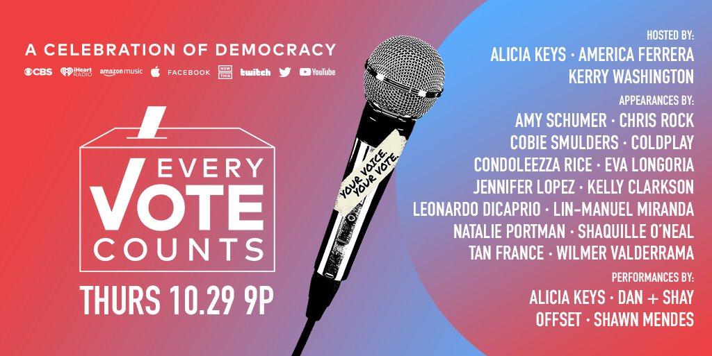 On Oct. 29, let's celebrate our right to vote with a special broadcast, #EveryVoteCounts. Tune in at 9pm ET on @CBS for performances from some of your favorite artists including @shawnmendes, @DanAndShay, & @offsetYRN! https://t.co/P4kuA8cIeg. https://t.co/Cmx7GbNrLc