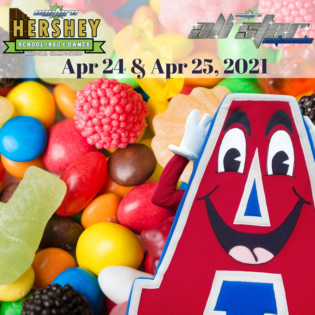 Skittles, Gummy Bears, and Jelly Beans oh my!!!  All this candy is making us think of Eastern's pinnacle event of the year, Hershey Nationals!!! Hailed as the sweetest competition on earth - sign your teams up today! #GetonthePath #RecCheer #SchoolCheer #Dance #DanceLife #Allstar https://t.co/elGB831QNT