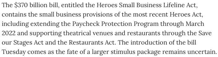 The #RestaurantsAct and #SaveOurStages Act re-emerge in new Senate small business bill introduced by @SenSchumer @BenCardinforMD @SenatorShaheen @ChrisCoons https://t.co/pKt52X2x74 https://t.co/t2dRfyx2pa