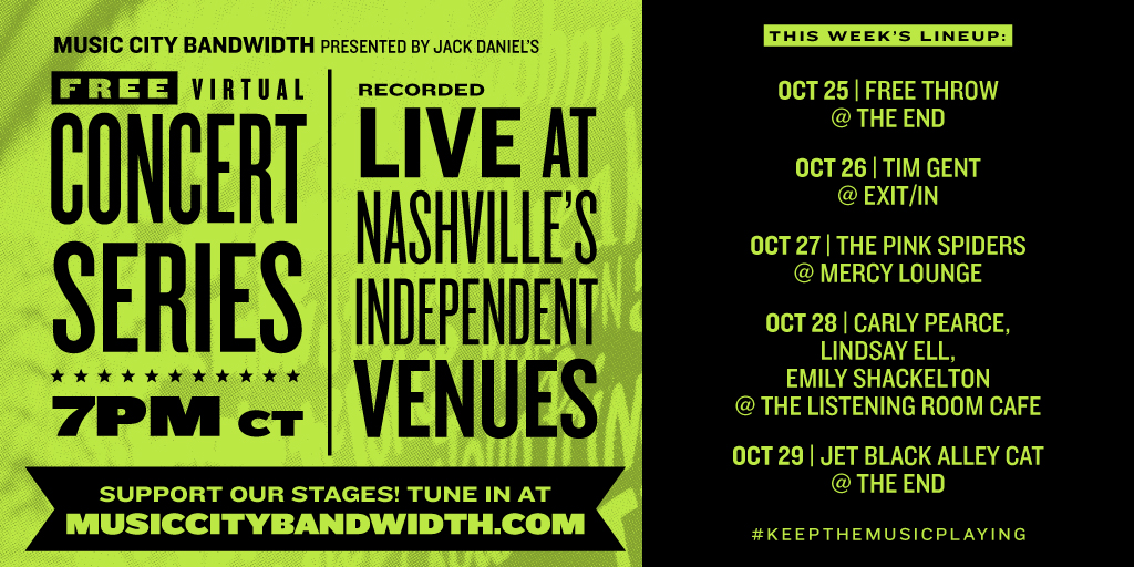Next Week is the final week for @mvanorg Music City Bandwidth concert series! For more info and to donate visit musiccitybandwidth.com #SupportNashvilleStages and #KeeptheMusicPlaying