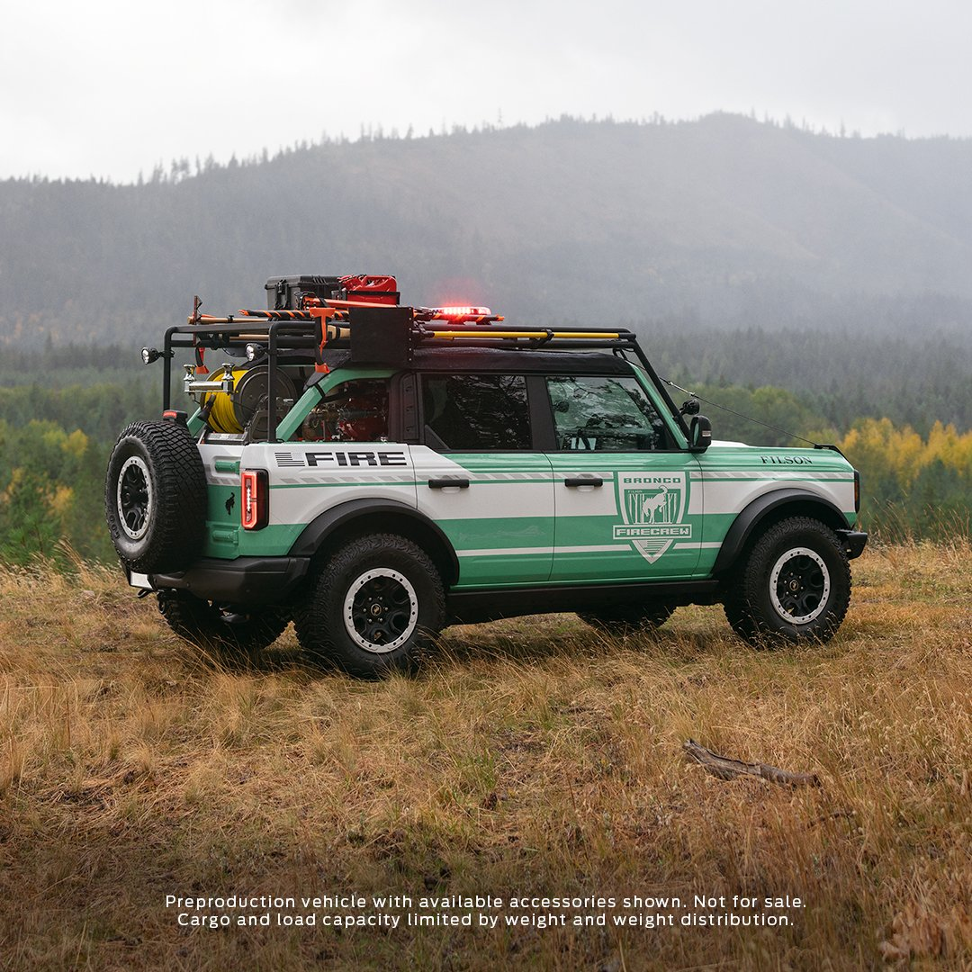 The #FordBronco + @Filson Wildland Fire Rig concept vehicle.  Combining the rugged and rich heritage of two great brands to help support the @NationalForests Foundation's reforestation programs and to promote fire prevention awareness. https://t.co/HLNCmcZpb0