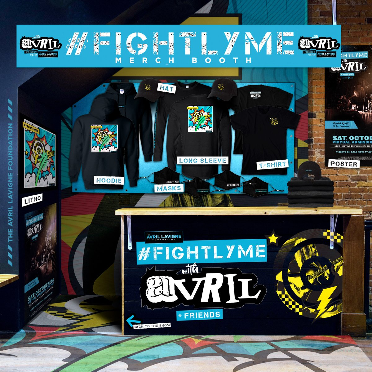 WE'RE SO EXCITED FOR #FIGHTLYME WITH AVRIL & FRIENDS THIS WEEKEND THAT WE COULDN'T WAIT TO GIVE YOU A SNEAK PEEK AT THE LIMITED-EDITION VIRTUAL MERCH BOOTH. GET YOUR MERCH NOW AT  BUY NOW!!