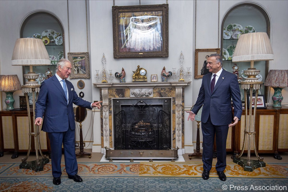Today The Prince of Wales received Iraqi Prime Minister Mustafa Al-Kadhimi (@MAKadhimi) at Clarence House.