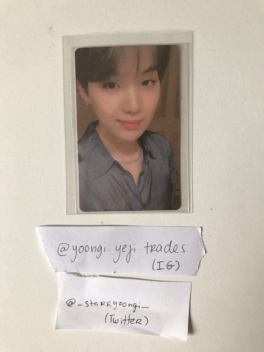 [[WTS/WTT] Official Yoongi 'Map of the Soul: Persona' Version 02 PC (slight marks on the back, almost unnoticeable)  WTT: Any of the non-whitened Suga PCs (preferably MOTS:7)  WTS: 10£ + shipping  Proof on my Instagram @/yoongi.yeji.trades!! 🦋 #wts #wtt #bts #yoongi #kpopwts https://t.co/zhCcZxOE2Y
