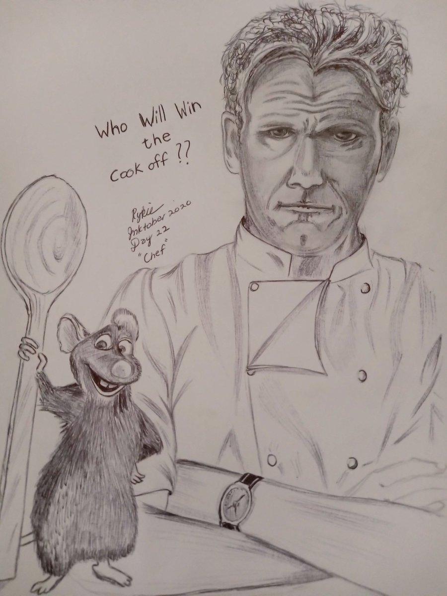 Remy vs Gordon Ramsay #inktober202 #inktoberday22 #day22 #chef #cookoff #gordonramsay #remy #fanart #inkdrawing #art #ballpen #ratatouille #ratatouillefanart #gordonramseyfanart #remyvsgordonramsay #chefgordonramsey #cookoff #inksketch #ink #inktober https://t.co/ryau7Q8ALX