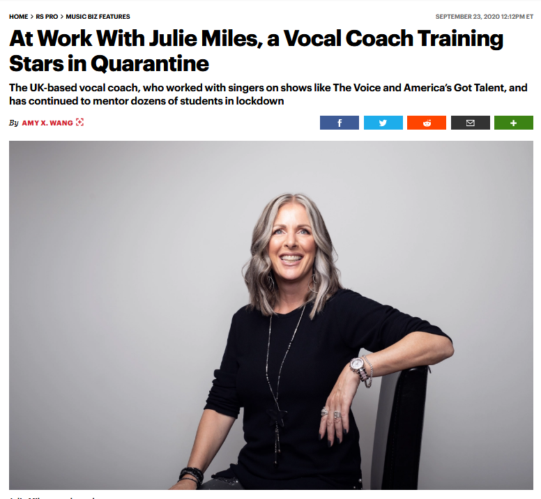 """@rollingstone article on #vocalcoach Julie Miles @VocalOvation https://t.co/t3aE1YvxQk """"as soon as somebody walks into my studio for a lesson (...) it is not about me, it is about them, full stop."""" #learnsinging #vocaltechnique https://t.co/D6nKiUGKjN"""