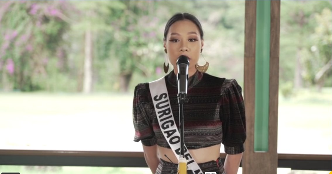 LOOK: Up next is Carissa Rozil Quiza of Surigao del Norte! Carissa said that if she wins, she would like to amplify the voice of the indigenous people. | via @alexavillano #MissUniversePhilippines2020