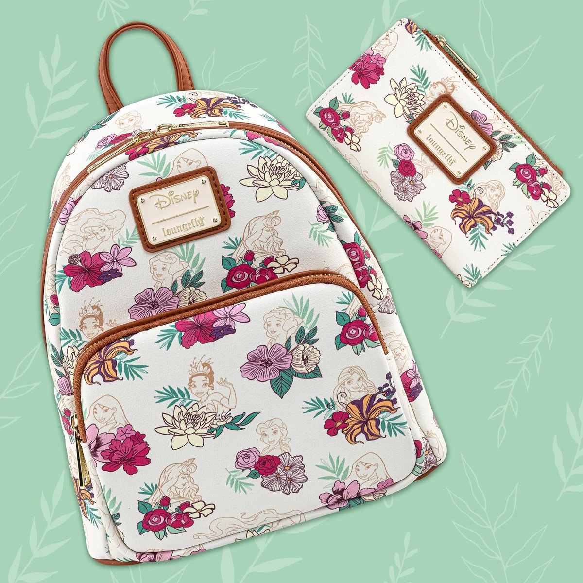 The new floral Disney Princess collection is a dream come true! The royal floral all-over-print features all the gorgeous princesses! We are in love!!! 🥰 Shop today at bit.ly/37vvp7S! 🌸👑🌸 #Loungefly #Disney #DisneyPrincess
