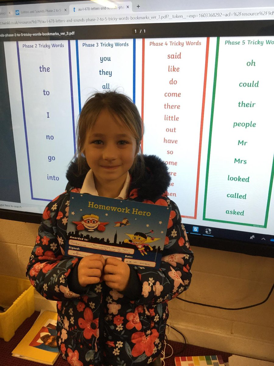 Our latest Homework Hero in the Owls class. #Aspire