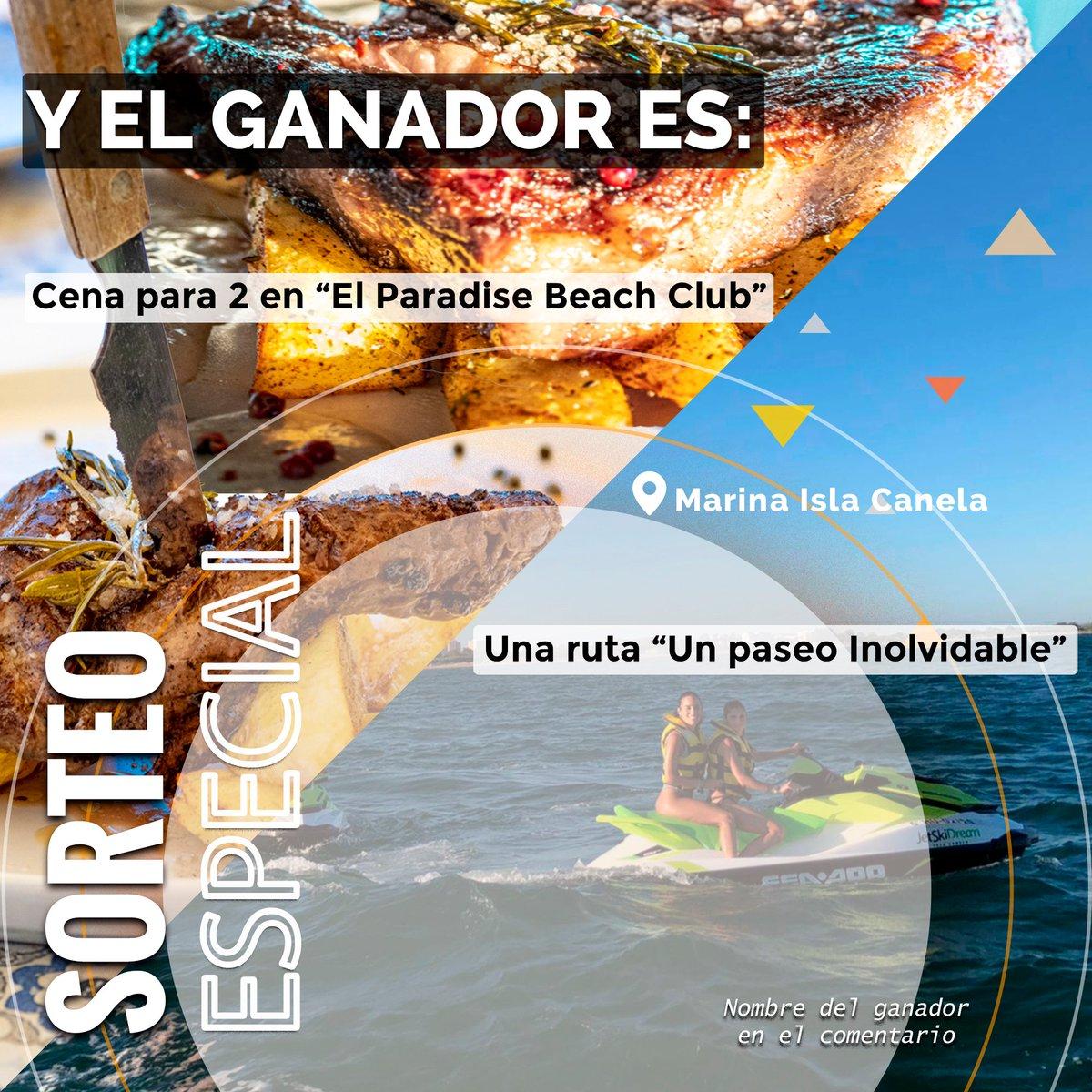 """Ya tenemos ganadora de nuestro sorteo:  @alicia.rj  Disfruta de tus premios  """"Un Paseo Inolvidable"""" de 30 minutos, para 1 o 2 personas y una cena en """"El Paradise"""" para dos personas valorada en 50€.*  #JetSkiDream #ElParadiseBeachClub #Motodeagua #JetSki #Jetskilife #SeaDoo https://t.co/A7vXApwkBH"""