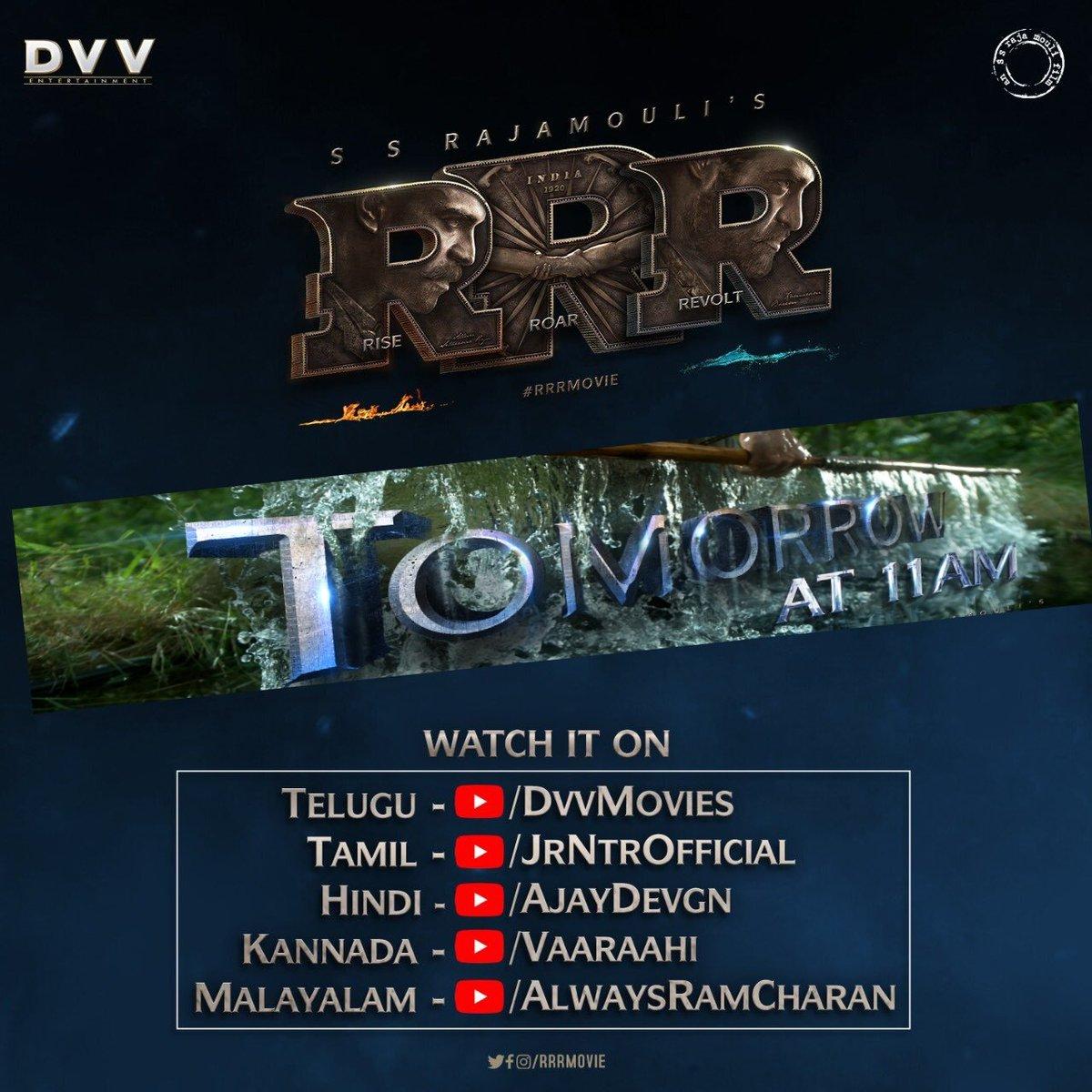 #RamarajuForBheem teaser going to take YouTube and social media on storm from tomorrow at 11 AM onwards. #RRRMovie.  #KomaramBheemNTR. #BheemManiaBegins. #RamarajuForBheemTomorrow.