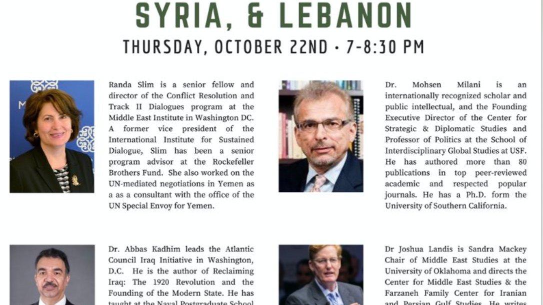Tonight - Discussion: US Challenges in Iraq, Syria and Lebanon. The organizer is @milanimohsen w Discussants @DrAbbasKadhim @rmslim @joshua_landis Via YouTube: youtu.be/MXIoLKOPBrw