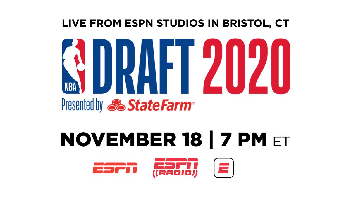 ESPN's Bristol, Conn. studios will host the virtual 2020 @NBADraft presented by State Farm  Wednesday, November 18 at 7 p.m. ET   @NBA Commissioner Adam Silver & Deputy Commissioner Mark Tatum will announce selections live in studio  More: https://t.co/peUPXj4Dlp | @ESPNNBA https://t.co/wNfryBtdQv