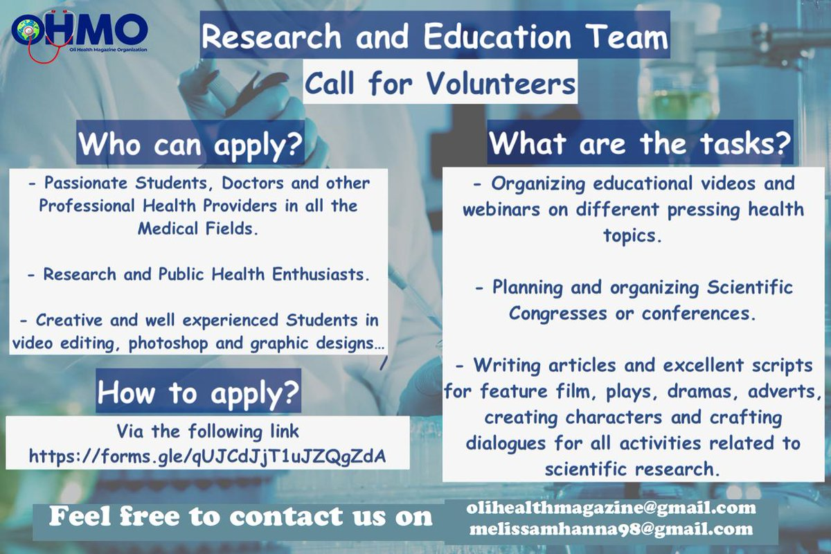 ⚠ CALL FOR VOLUNTEERS ⚠ The OHMO Research and Education Team is recruiting passionate, creative and talented students, Doctors and others. Deadline: 2nd NOV 2020 For more details, Here is the application form: forms.gle/qUJCdJjT1uJZQg… #MedTwitter #RwOT #scicomm #jobseekers