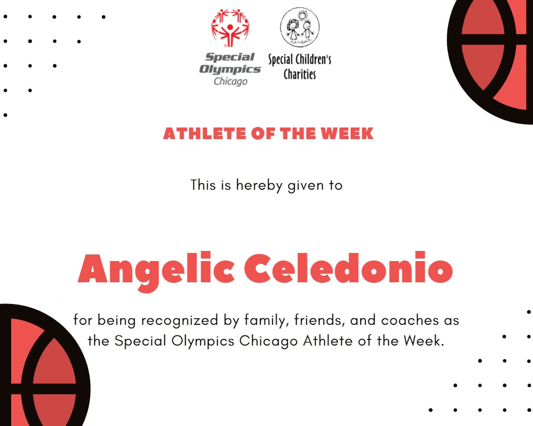 Congratulations to Angelic Celedonio for being nominated for this week's athlete of the week! Angelic is an athlete at Shabbona Park. Learn about Angelic and Nominate a superstar athlete for Athlete of the Week today! https://t.co/MahQB19OjJ https://t.co/1pkUHPFgC0