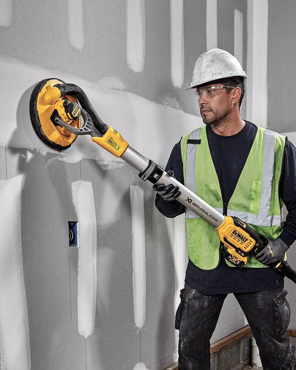 Wherever you go, the 20V MAX* Brushless Drywall Sander, with telescoping shaft and articulating head, goes higher.