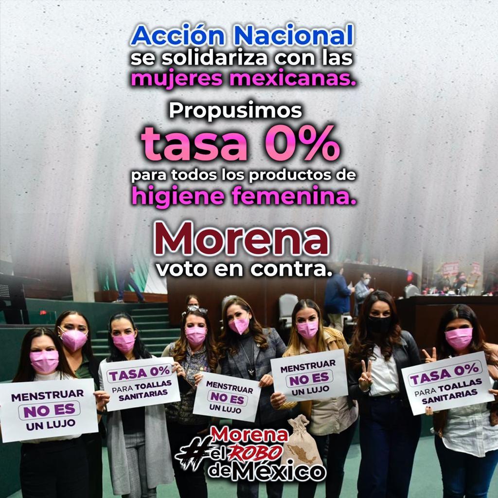 Acción Nacional apoyó a todas las mujeres mexicanas para tener una #MenstruaciónDigna, la respuesta de #MorenaElRoboDeMéxico fue decir NO y que se siga recaudando dinero para que su líder lo gaste como quiera. https://t.co/mnT09IlW6J