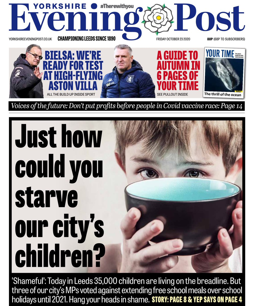 Hang your heads in shame! 35,000 children are living on the breadline in Leeds yet 3 of our city's MPs voted against extending free school meals over school holidays 😡This isn't about political point scoring - it's about children's lives. @MarcusRashford yorkshireeveningpost.co.uk/news/people/na…
