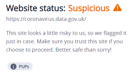 Im getting this warning about the British governments Covid website