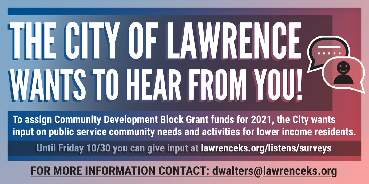 @lawrenceks officials have their ears wide open and want to hear from YOU about how important CDBG funds should be utilized. Check out https://t.co/kXU1Q8U3xg to make yourself heard! 🗣🗣🗣  #Advocate #BeHeard https://t.co/PASDqpz7xG