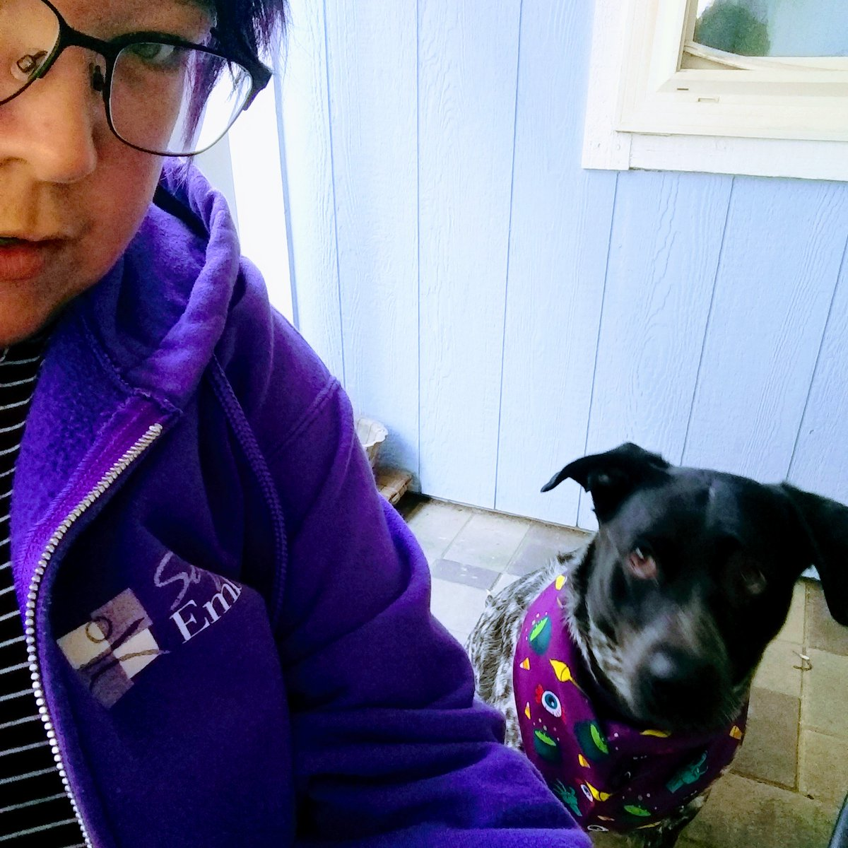 Today I'm wearing my purple  @SafeEmbrace sweatshirt and Charlotte's sporting purple too!  #PurpleThursday for #DomesticViolenceAwarenessMonth  #LoveShouldBeSweet #TellSomeone #ISpeakUp https://t.co/ytTsmCS9nI