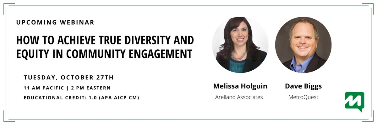 Our next webinar is filling up fast! Join us on Tuesday as our panel explores proven #publicengagement strategies for reaching traditionally underrepresented communities. https://t.co/GRXZ3j2T99 https://t.co/RL2a5lNUbT