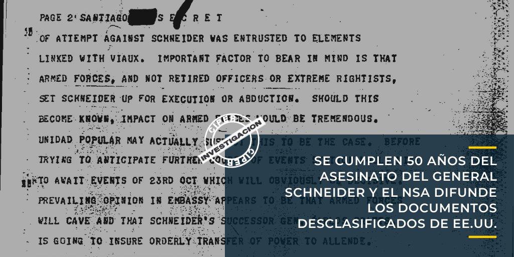 "#AlertaCIPER Cómo se ejecutó la orden de Nixon, Kissinger y la CIA: ""Efectuar la remoción de Schneider"" 👉https://t.co/xw0VAowRDb https://t.co/LdfBD0V54s"