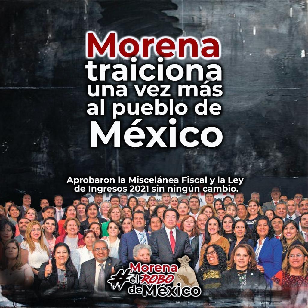 @GobiernoMX #Morena traiciona a #México con una #MisceláneaFiscal2021 voraz e insensible, cuyo objetivo es obtener ingresos para atender los proyectos faraónicos presidenciales y no reactivar la economía. #MORENAelRoboDeMéxico https://t.co/tTSph5BteR