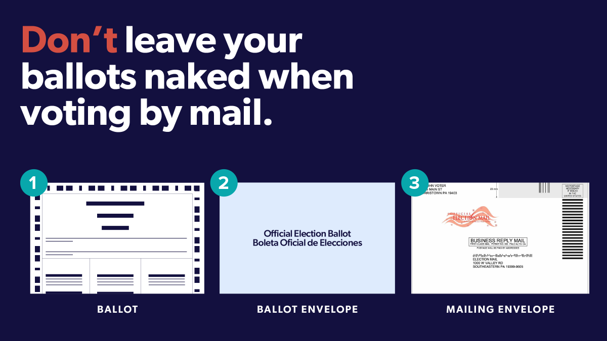 """1/5 PENNSYLVANIA: Quick! Submit your vote by mail ballot as soon as you can. The Deadline is Nov 3rd by 8 pm. If you submit your ballot without the privacy envelope, it will be considered """"naked' and your vote will not be counted."""