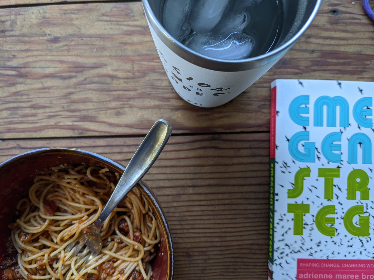 My mealtime reading with @adriennemaree. #latetothegame #emergentstrategy https://t.co/VbDp0tWiDh