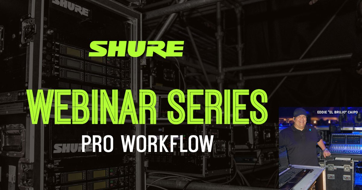 """Join us on Friday with guests Ramon Morales (Bruno Mars, Mary J. Blige, and Beyoncé) and Eddie """"El Brujo"""" Caipo (Enrique Iglesias, Gwen Stefani) as they discuss using PSM1000 personal monitor systems on the road. Register at shu.re/3jld67C."""