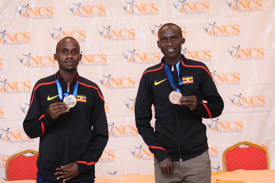 The Uganda Athletics Team to the #WorldHalfMarathon in Gdynia has been welcomed back to🇺🇬. The team presented its accolades at a press conference today @NCSUganda1  Jacob Kiplimo won Gold in a CR 58:49 while @joshuacheptege1 with a PB 59:21 finished 4th. The Men's Team won Bronze