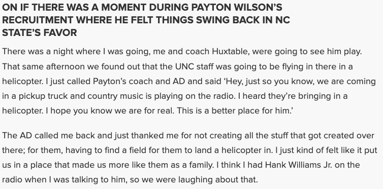 When was the exact moment Dave Doeren felt he would land Payton Wilson? He gave a fairly vivid description in today's presser. 👀  Full quotes, video from Doeren's presser here (via @AlecSawyer): https://t.co/bunzuUQRJt https://t.co/YVPinhH2HQ