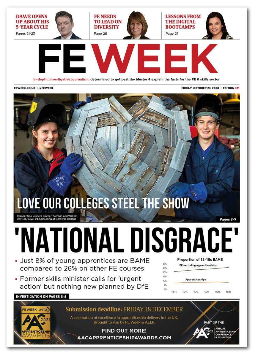 SNEAKY PEEK of @feweek edition 331 front cover that goes to subscribers tonight. Full of exclusive news, analysis & jobs for the discerning subscriber #loveFE #LoveOurColleges https://t.co/lDdEjF6UtC