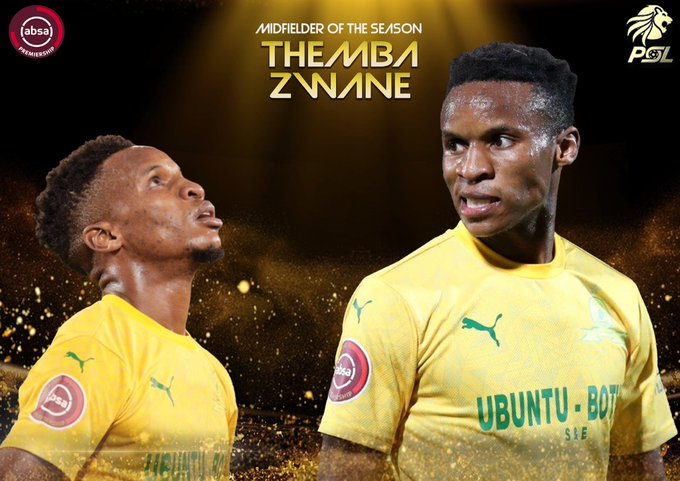 Themba Zwane wins the ABSA Premiership Midfielder Of The Season! Congratulations Mshishi!  #PSLAwards #PSLAwards20 #Diski365 https://t.co/u3xXRiqmBA