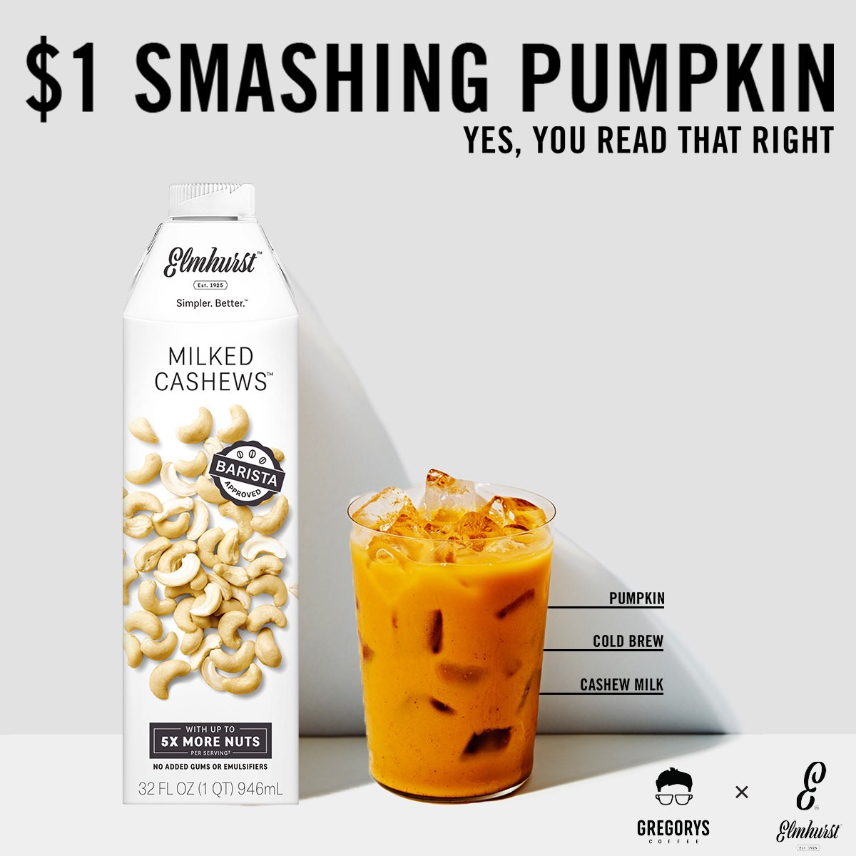 Enjoy any size Smashing Pumpkin tomorrow for just $1! We have launched @Elmhurst1925 Cashew Milk at all Gregorys locations and have teamed up to get you a little TGIF, Gregular style. Oh and a special playlist is hitting tomorrow as well.  See you tomorrow! https://t.co/qYEmbA8GB3