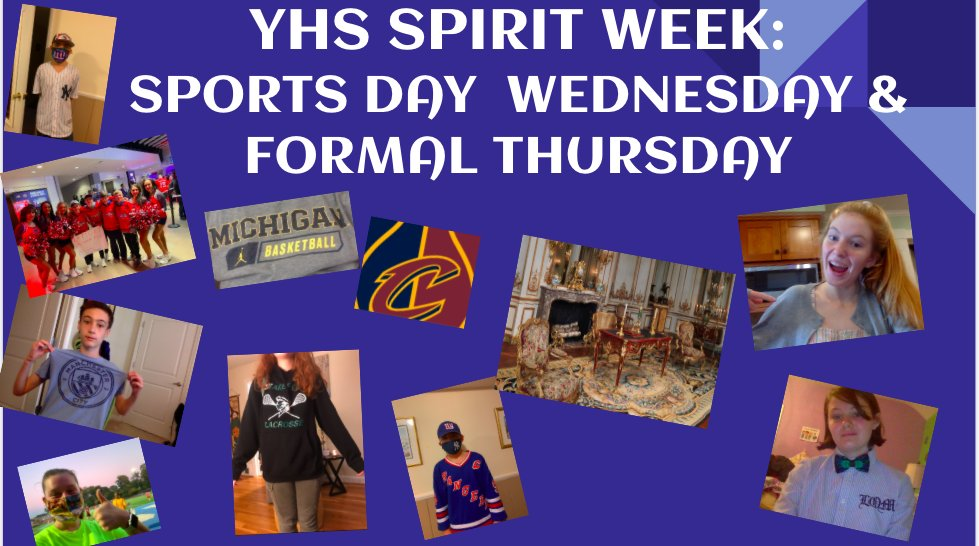 YHS Spirit Week! Wednesday Sports Day & Thursday Formal Day <a target='_blank' href='http://twitter.com/YorktownHS'>@YorktownHS</a> <a target='_blank' href='http://twitter.com/APSVirginia'>@APSVirginia</a> <a target='_blank' href='http://twitter.com/Principal_YHS'>@Principal_YHS</a> <a target='_blank' href='http://twitter.com/YHSAthletics'>@YHSAthletics</a> <a target='_blank' href='http://twitter.com/YorktownYB'>@YorktownYB</a> <a target='_blank' href='http://twitter.com/YorktownSentry'>@YorktownSentry</a> <a target='_blank' href='http://twitter.com/YHSDailies'>@YHSDailies</a> <a target='_blank' href='https://t.co/M5UJsYKr6J'>https://t.co/M5UJsYKr6J</a>