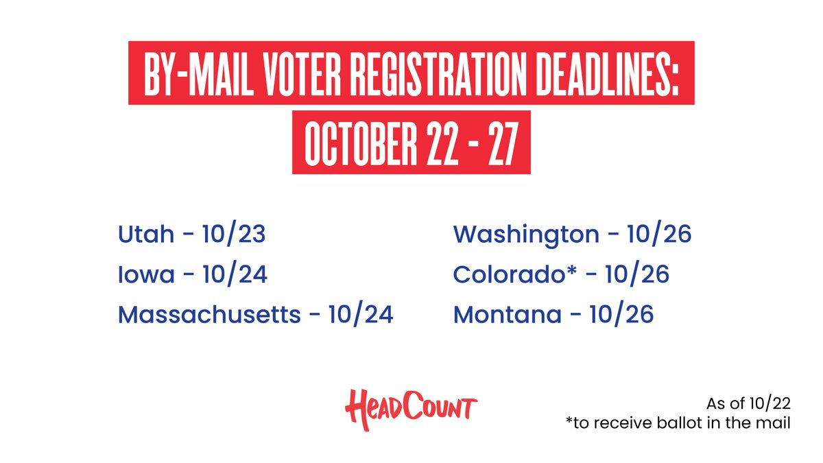 It's crunch time to get registered to vote in these 👇 states. If you want to vote on November 3rd, the first step is to get registered to vote. Register to vote today at https://t.co/UZn3ZeGFFJ. https://t.co/pLgXDuxx2L