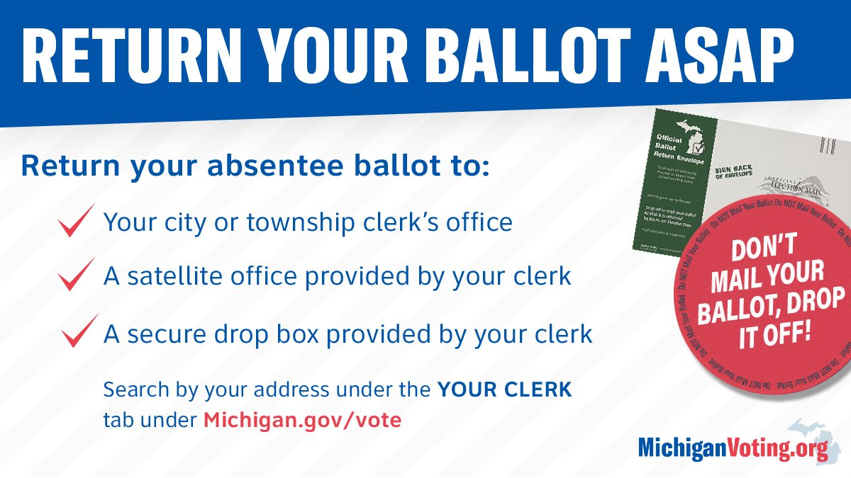 You can't hold on to your ballot forever! Drop it off. Return your ballot to your clerk's office, a satellite office, or a secure drop box provided by your clerk. https://t.co/43XRIU1d2A   #YourVoteMatters #BeHeard #MIVoting https://t.co/loivsvkuWc