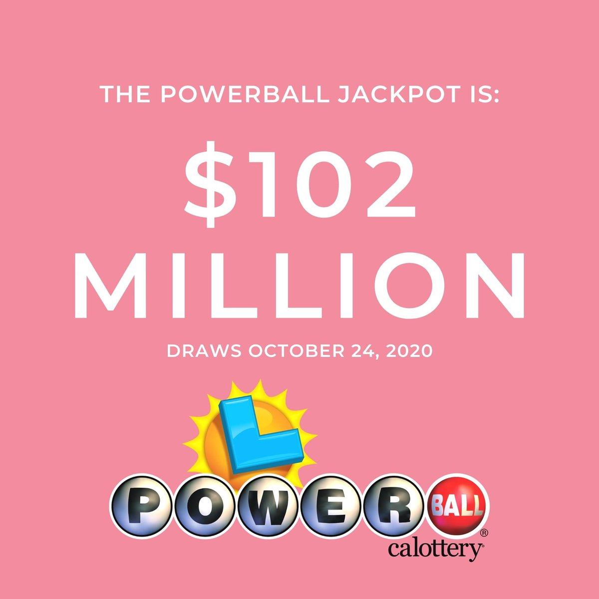 WOW! The #Powerball jackpot is now $1 0 2 M I L L I O N ! Visit your local retailer to play. #CALottery #JackpotAlert https://t.co/B8H2aFy6i6