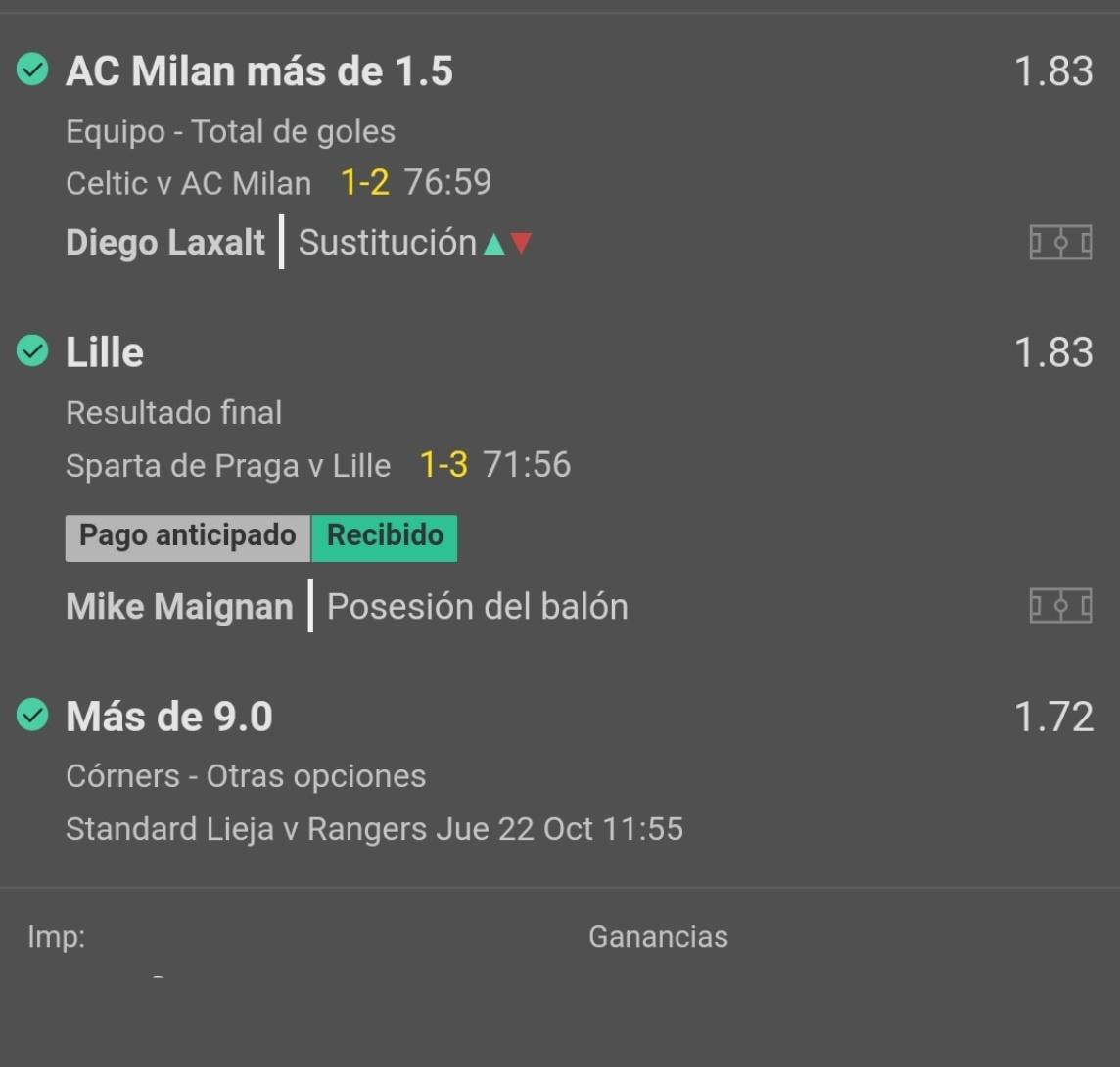 Se cobran las 3 jugadas enviadas para #EuroLeague  📍Celtic vs Milan  📌Milan mas de 1 gol (1.83) 2%✅💰  📍Sparta vs Lille  📌Lille ML (1.83) 1.5%✅💰  📍Standard L vs Rangers  📌Mas de 9 corners (1.72) 1.5 %✅💰 https://t.co/bsmPbOedSQ