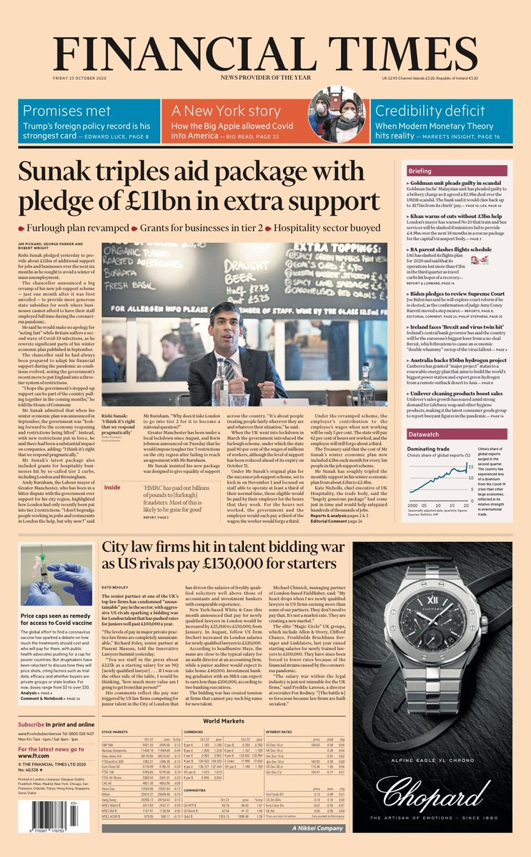 Friday's FT: 'Sunak triples aid package with pledge of £11bn in extra support' #TomorrowsPapersToday #BBCPapers
