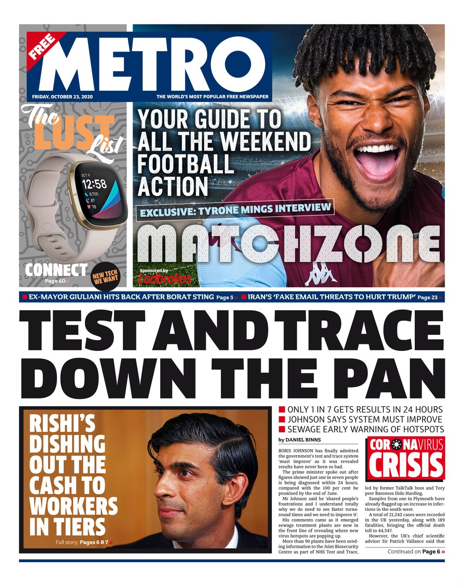 Friday's Metro: 'Test and trace down the pan' #TomorrowsPapersToday #BBCPapers
