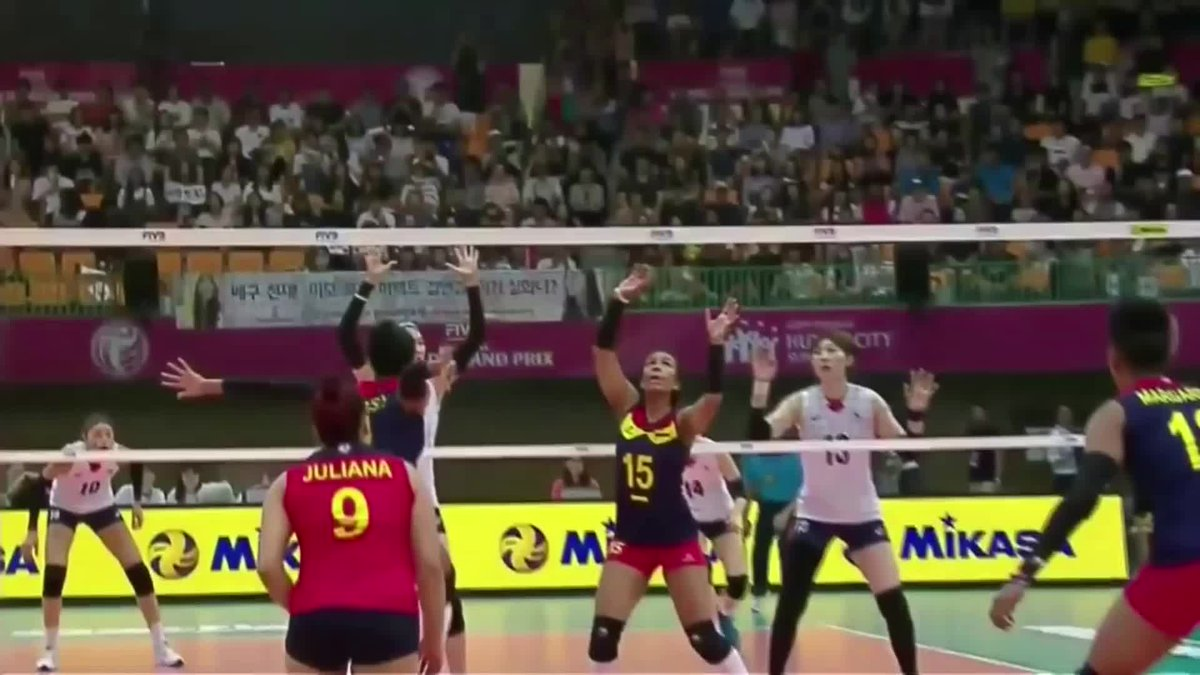 2017 #FIVBWorldGrandPrix Pool Play: Korea 🇰🇷 vs 🇨🇴 Colombia  LINK: https://t.co/7Mr64Noyd9  Korean volleyball superstar Kim Yeon-koung had a match-high of 18 pts. Yeisy Soto and Dayana Segovia led Colombia with 12 pts each. https://t.co/AeFn1NCZXy