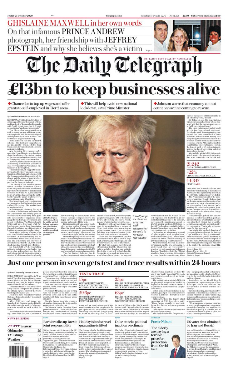 Friday's Telegraph: '£13bn to keep businesses alive' #TomorrowsPapersToday #BBCPapers