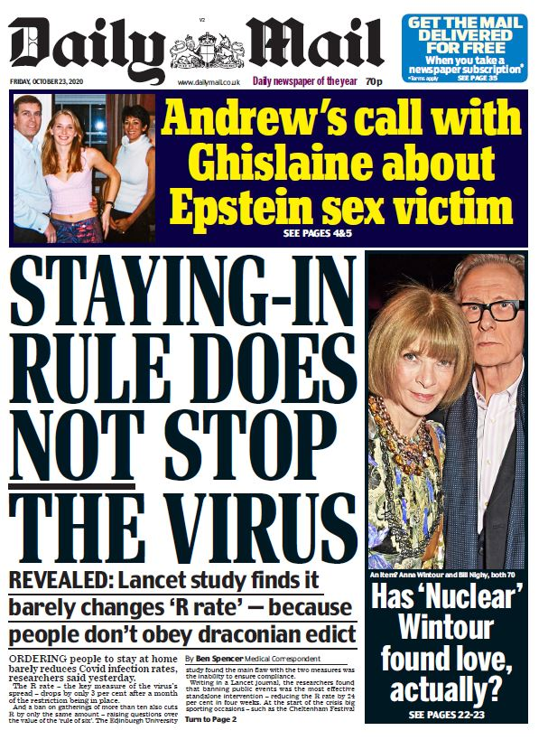 Friday's Mail: 'Staying-in rule does not stop the virus' #TomorrowsPapersToday #BBCPapers
