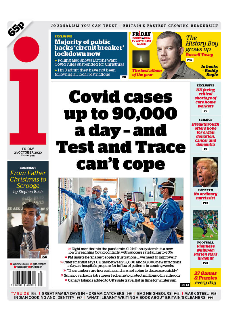 Friday's i: 'Covid cases up to 90,000 a day - and Test and Trace can't cope' #TomorrowsPapersToday #BBCPapers