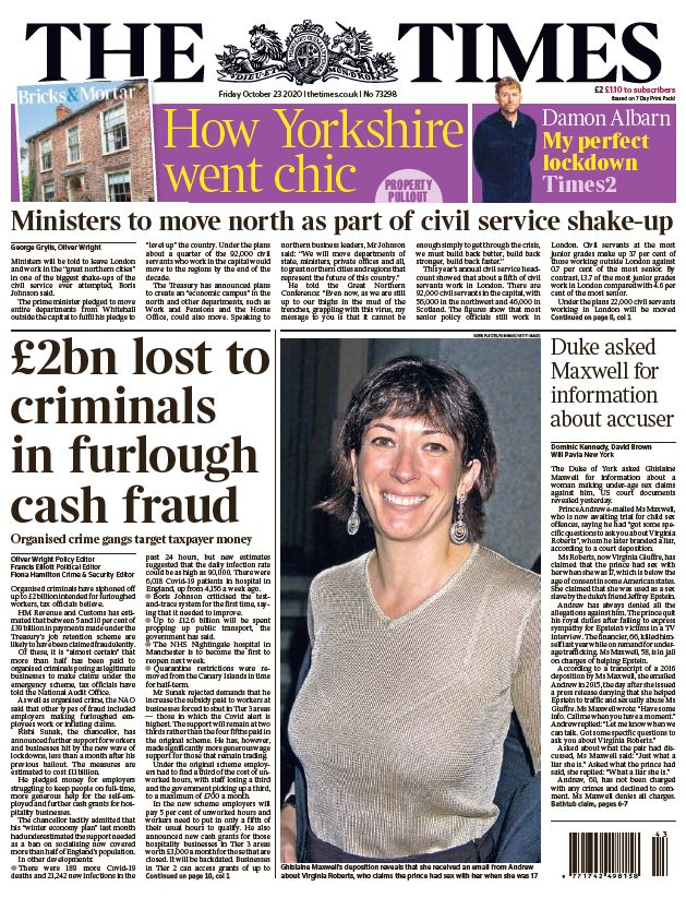 Friday's Times: '£2bn lost to criminals in furlough cash fraud' #TomorrowsPapersToday #BBCPapers