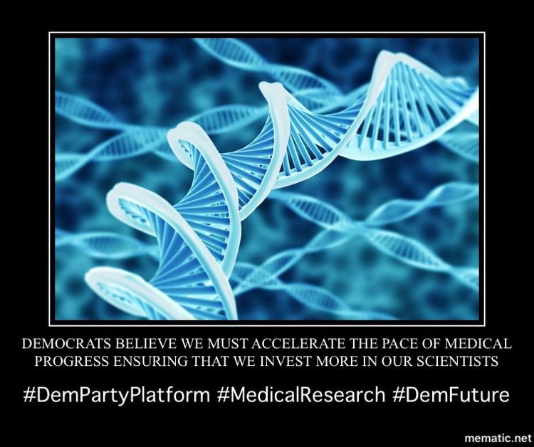 Scientific research is at the heart of medicine—and of health care.  #Democrats want the United States to be at the forefront of scientific research and discovery for the benefit of our people, our economy, and our global competitiveness. 2/11  #DemPartyPlatform  #ScienceMatters