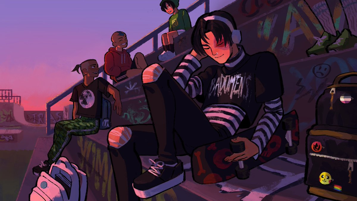 E-boy Zuko listening to 🎵⚡️☠️ with the Gaang!